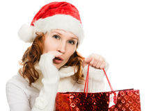 Beautiful christmas woman in santa hat Royalty Free Stock Photos