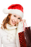 Beautiful christmas woman in santa hat Stock Photography