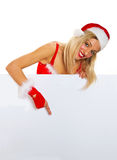 Beautiful christmas woman in santa hat Stock Image