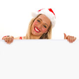 Beautiful christmas woman in santa hat Royalty Free Stock Photo