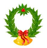 Beautiful christmas wreath with bells Royalty Free Stock Photo