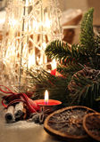 Beautiful Christmas wreath with candles Stock Image