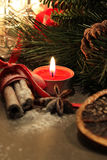 Beautiful Christmas wreath with candles Stock Photos