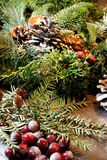 Beautiful Christmas wreath with candles Stock Photo