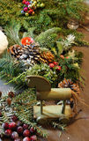 Beautiful Christmas wreath with candles Stock Images