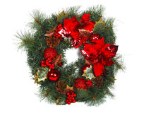 Beautiful Christmas Wreath Decoration  on White Background. Beautiful Merry Christmas Wreath  on White Background Stock Photos