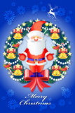 Beautiful christmas wreath decorations with santa clause - vector eps10 Stock Image