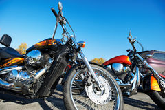 Beautiful chrome classic motorcycle Stock Photo