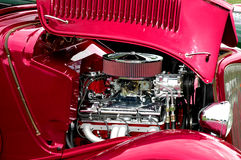 Beautiful chrome engine in a Ford Coupe Hot Rod Stock Image