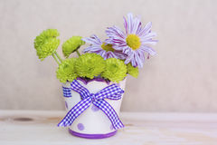 Beautiful   chrysanthemums flowers in small decorative vase Royalty Free Stock Photo