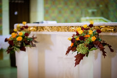 Beautiful church decorated for wedding ceremony Stock Image