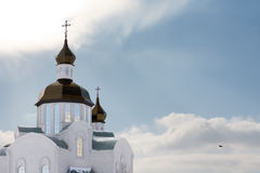 Beautiful church with onion domes Stock Photos