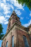 Beautiful Church of Our Savior. Copenhagen, Denmark, against the blue sky. Bottom view. Architecture. Sights Royalty Free Stock Images