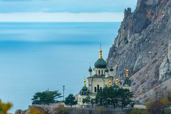 Beautiful Church of the Resurrection of Christ, Foros church on a rock in the Crimea against the background of the sea. Russia royalty free stock images