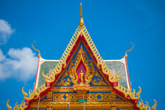 Beautiful church roof. Beautiful Buddhism church roof in Thailand Royalty Free Stock Photos