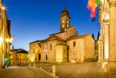 San Quirico Dorcia tuscan town. Beautiful church in San Quirico Dorcia tuscan town Royalty Free Stock Image