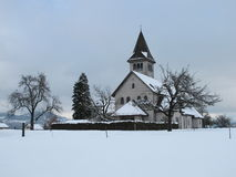 Beautiful Church In The Snow Royalty Free Stock Photo