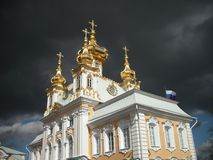 Beautiful Church in St. Petersburg, over which the clouds Royalty Free Stock Image