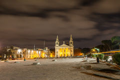 The beautiful church of St. Publius at deep night. Malta. Stock Photo