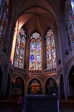 Beautiful church stained glass window royalty free stock photos