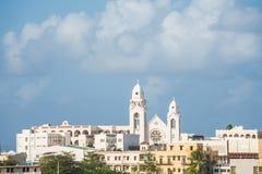 Beautiful Church Under Cloudy Skies in San Juan. A church on a hill in San Juan, Puerto Rico stock images