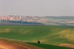Beautiful Church In Vineyard - Vrbice, Czech Republic, Europe. Vineyards and agricultural fields near a small town Vrbice in South Moravia Stock Image