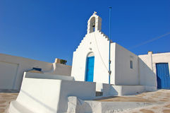 Beautiful Churches in Santorini island. Beautiful White Churches with blue sky  in Santorini island Stock Image