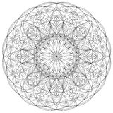 Beautiful circle mandala adult coloring page. vector illustration