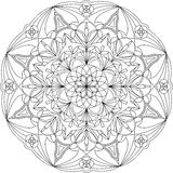 Beautiful circle mandala adult coloring page. royalty free illustration