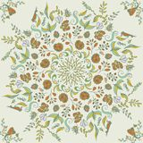 Beautiful circular floral seamless pattern. Ornamental round lace  illustration. floral bouquet on a light background. Stock Photography