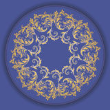 Beautiful circular pattern of floral. Ornament with leaves, colorful mandala on the blue background Stock Illustration