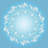Beautiful circular pattern of floral. Ornament with leaves, colorful mandala on the blue background Vector Illustration