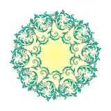 Beautiful circular pattern of floral. Ornament with leaves, colorful mandala on the white background Stock Illustration