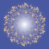 Beautiful circular pattern of floral. Ornament with leaves and grapes. Vector mandala on the blue background Stock Illustration