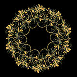 Beautiful circular pattern of floral. Ornament with leaves, mandala on the black background Vector Illustration