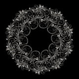 Beautiful circular pattern of floral. Ornament with leaves, mandala on the black background Stock Illustration
