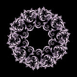 Beautiful circular pattern of floral. Ornament with leaves, mandala on the black background Royalty Free Illustration