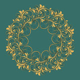 Beautiful circular pattern of floral. Ornament with leaves, mandala on the blue background Vector Illustration