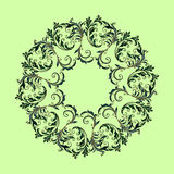Beautiful circular pattern of floral. Ornament with leaves, mandala on the green background Vector Illustration