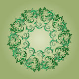 Beautiful circular pattern of floral. Ornament with leaves, mandala on the green background Royalty Free Illustration