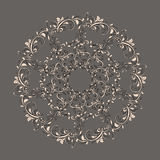 Beautiful circular pattern of floral. Ornament with leaves, mandala on the grey background Stock Illustration