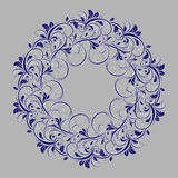 Beautiful circular pattern of floral. Ornament with leaves, mandala on the grey background Vector Illustration