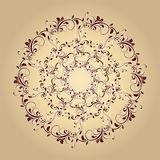 Beautiful circular pattern of floral. Ornament with leaves, mandala on the pastel background Stock Illustration