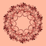 Beautiful circular pattern of floral. Ornament with leaves, mandala on the pink background Royalty Free Illustration