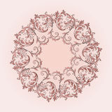 Beautiful circular pattern of floral. Ornament with leaves, mandala on the pink background Stock Illustration