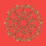 Beautiful circular pattern of floral. Ornament with leaves, mandala on the red background Vector Illustration