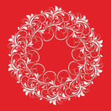 Beautiful circular pattern of floral. Ornament with leaves, mandala on the red background Stock Illustration