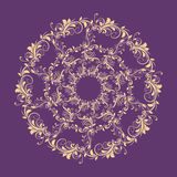 Beautiful circular pattern of floral. Ornament with leaves, mandala on the violet background Royalty Free Illustration