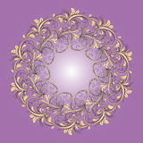 Beautiful circular pattern of floral. Ornament with leaves, mandala on the violet background Vector Illustration
