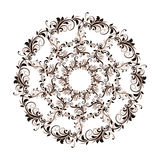 Beautiful circular pattern of floral. Ornament with leaves, mandala on the white background Stock Illustration